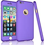Tekcoo For iPhone 6S Plus Case, Tekcoo iPhone 6 Plus Case, [T360 HY] Ultra Thin Full Body Coverage Protection Scratch Proof Hard Hybrid Cover Shell With Tempered Glass Screen Protector [Purple]