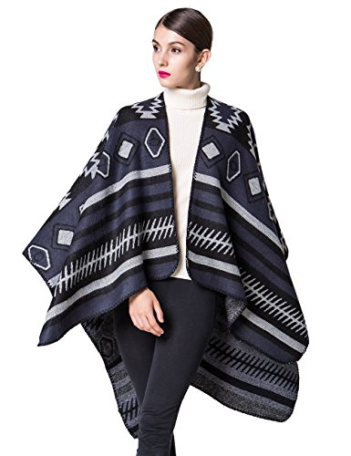 Cashmere Print Cardigan - LOHASCASA Womens Tassel Fashion Print Winter Warm Blanket Cashmere Sleeveless Cardigan Sweater Pashmina Shawl Poncho Cape Wrap Wide Scarf Black and Blue