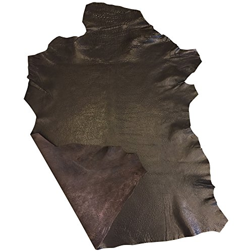 Real Leather Hides - Brown Color - Quality Spanish Lambskin - 4 sq ft - 2 oz. avg Thickness - Rustic Finish - Genuine Sheepskin Fabric - Craft Projects - Upholstery Home Décor Material