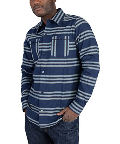 adidas Skateboarding Men's Silas Striped Flannel, Collegiate Navy/Cardboard/Frost Blue, ()