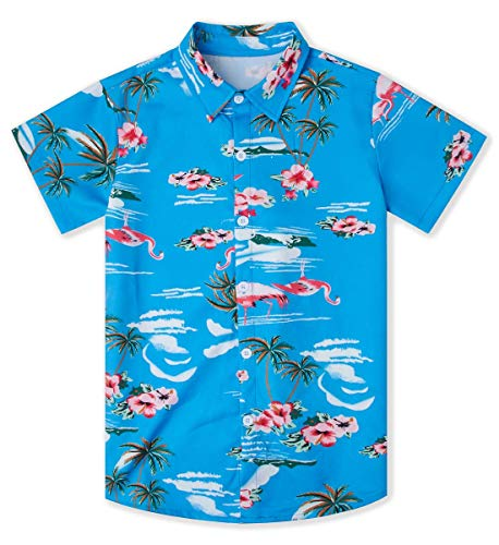 Goodstoworld Luau Shirts for Boys Youth Kids Blue Hawaiian Dress Shirts Flamingo Floral 3D Graphic Summer Aloha Shirts Palm Tree Short Sleeve Button Down Shirts 13-14T ()