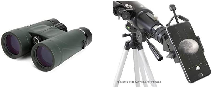Celestron 71332 Nature DX 8x42 Binocular (Green) with Celestron 81035 Basic Smartphone Adapter 1.25