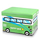 iKayaa Cute Storage Ottomans Box and Kids Toy Organizer 19x13x13'' -Green Happy Bus