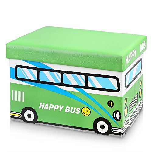 iKayaa Cute Storage Ottomans Box and Kids Toy Organizer 19x13x13'' -Green Happy Bus by IKAYAA