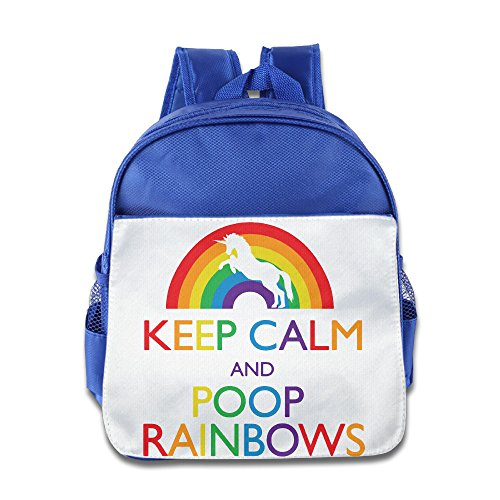 [HYRONE Keep Clam And Poop Rainbows Boys And Girls School Bagpack Bag For 1-6 Years Old RoyalBlue] (Smurf Costume 2 Year Old)