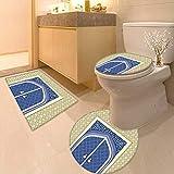 Printsonne Soft Toilet Rug 3 Pieces Set Medieval Door Ottoman Architecture Persian Influences Islamic Culture Design Blue Beige Customized Super Soft Plush