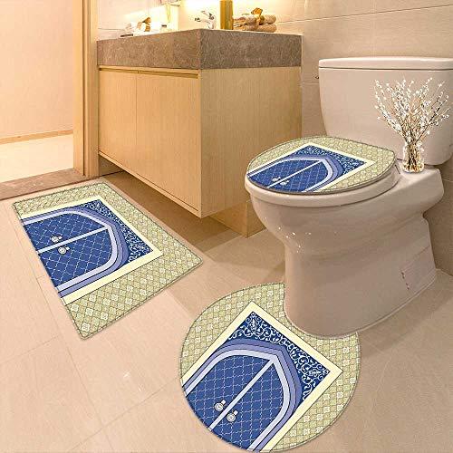 Printsonne Soft Toilet Rug 3 Pieces Set Medieval Door Ottoman Architecture Persian Influences Islamic Culture Design Blue Beige Customized Super Soft Plush by Printsonne
