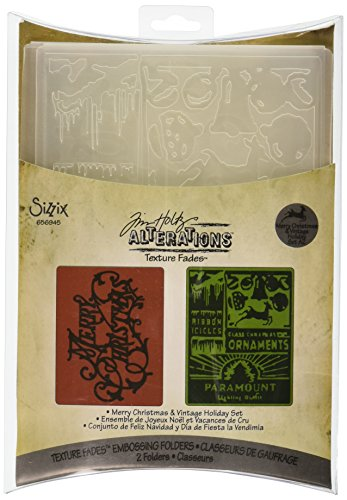 Sizzix Texture Fades Embossing Folders 2PK - Merry Christmas & Vintage Holiday Set by Tim (Pocket Folder Die)