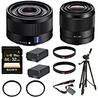 Sony Sonnar T FE 35mm f/2.8 ZA Lens + Sony FE 28mm f/2.0 E-mount Prime Lens + Sony 32GB Memory Card + Deluxe Accessory Kit