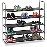 Halter 5 Tier Stackable Shoe Rack Storage Shelves - Stainless Steel Frame Holds 25 Pairs of Shoes - 35.75'' x 11.125'' x 34.25'' - Black