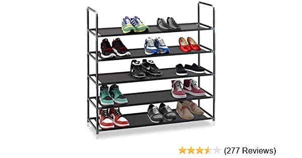 e3b774e2c3 Amazon.com  Halter 5 Tier Stackable Shoe Rack Storage Shelves - Stainless  Steel Frame Holds 25 Pairs of Shoes - 35.75