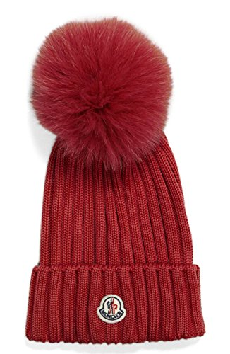 Moncler Woman's Red Ribbed Beanie Hat by Moncler