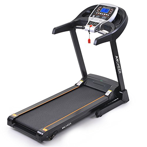 ANCHEER Folding Treadmill, 2.25HP Manual Incline Treadmill with APP Control, Portable Treadmill Walking Running Machine with Bluetooth Hi-Fi Speakers for Home Exercise