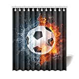 InterestPrint Sports House Decor Shower Curtain for Bathroom, Fire and Water Soccer Ball Cool Sports Bathroom Shower Curtain Set with Rings, 72(Wide) x 84(Height) Inches