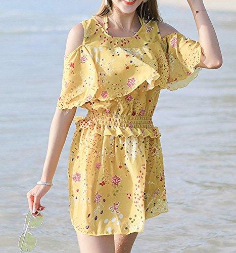 jaune Spa Petit Homee Coffre Gather De Conservative Maillot xl Dress Swimwear Pièces Bain Bikini Trois 1OB1a