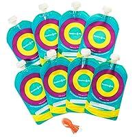 Bolsa reutilizable para alimentos para bebés (paquete de 8) - Recargable 6 oz. Bolsas exprimibles para niños pequeños con tapa a prueba de fugas - Ideal para puré casero, bebidas, bocadillos, yogur, pudín, cuchara de silicona BONUS - Bambini y ME