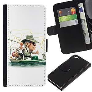 EJOY---Tirón de la caja Cartera de cuero con ranuras para tarjetas / Apple Iphone 6 / --Divertido Pescador