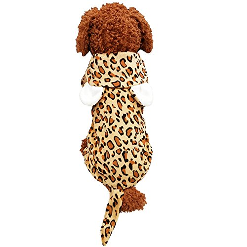 Leopard Print Halloween Dog Cat Costume Outfit Clothes Winter Warm Fleece Dog Pet Jacket Coat Dog Hoodie Jumpsuit (L, Yellow) Leopard Print Dog Coat