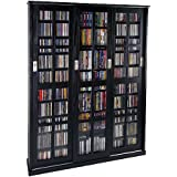 LDE LESLIE DAME Leslie Dame MS-1050ES Mission Style Multimedia Storage Cabinet with Sliding Glass Doors, Espresso