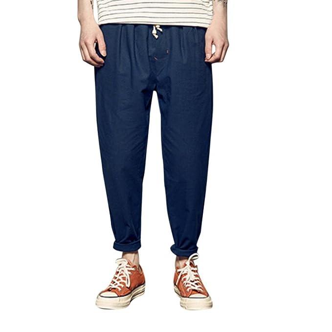 7e514a76fbf5 BYSTE Pantaloni Uomo Casuale Colore Puro Morbido Traspirante Pantalone di  Lino e Coulisse Vita Elastica