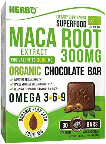 Maca Root 300 mg by Herbo Superfood in Organic Milk Chocolate - Natural Energy Booster, Promotes Sexual and Reproductive Health - 30 Delicious Omega-3 Enriched Bars, NON-GMO, Gluten-Free