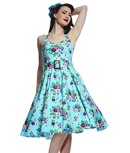 Hell Bunny 50'S May Jour Robe Motif Floral Turquoise