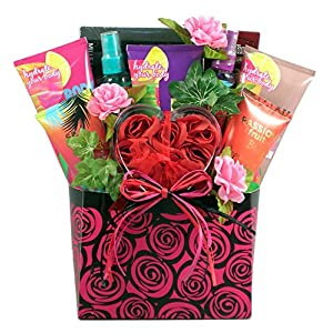 The Island Rose – Tropical Bath And Body Gift Basket for Her With Rich Chocolatey Sweets, Pamper Her In Luxury