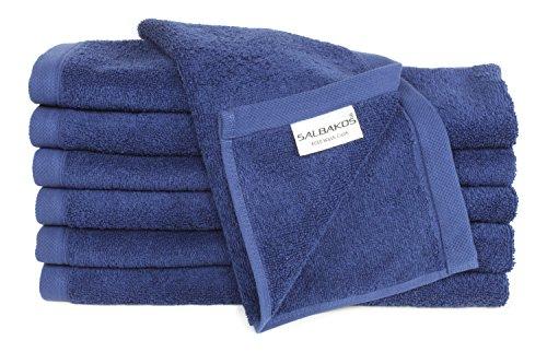 SALBAKOS Luxury Hotel & Spa Turkish Cotton 12-Piece Eco-Friendly Washcloth Set for Bath, Navy