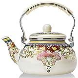 Enamel Teapot floral,Large Porcelain Enameled Teakettle,Colorful Hot Water Tea Kettle pot for Stovetop,Small Retro Classic Design (2.4L, white)