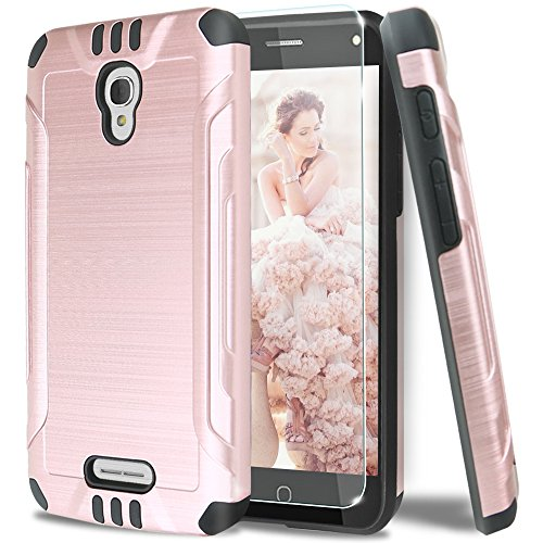 alcatel-pixi-theatre-case-with-tjs-tempered-glass-screen-protector-dual-layer-hybrid-shockproof-resi