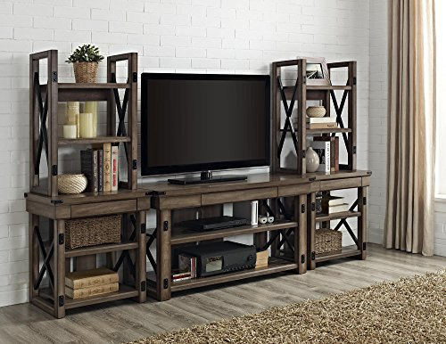 Ameriwood Home Wildwood Wood Veneer Audio Stand Bookshelf