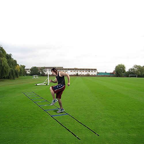 Image Durable 8-rung Agility Ladder Drills for Soccer, Speed, Football Fitness Feet Training generic 4-meter Agility Training Ladder, Blue 15.7-inch from rung to rung,Agility Ladder Training