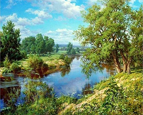 May Trees DIY Oil Painting Paint by Number Kit for Adults Beginner with Brush and Acrylic Paint - Green Riverside View 16x20 inch Canvas Digital Oil Painting (Frameless) ()