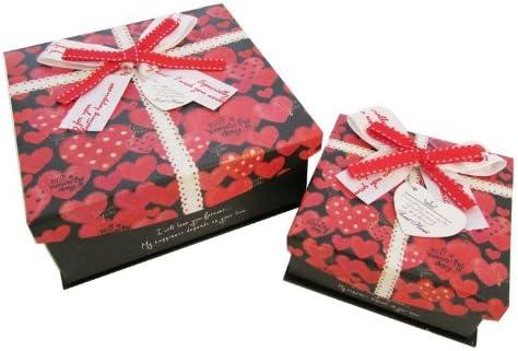 Cajas de regalo, cajas de almacenaje, con cantos decorativo, conjunto de 2, con lazo, negras, corazones rojos, amor: Amazon.es: Juguetes y juegos