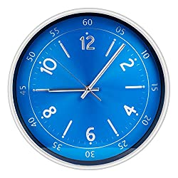 Egundo Metal Silent Wall Clock Digital Non Ticking 12 Inches Large Numbers Quartz Modern Kitchen Bedroom Round Analog Clock Decorative Home Decor Office Battery Operated Blue