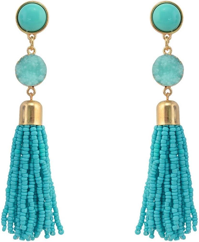 QiXuan mujeres turquesa con cuentas borla pendientes cortos flecos pendientes cuelgan 4 colores.