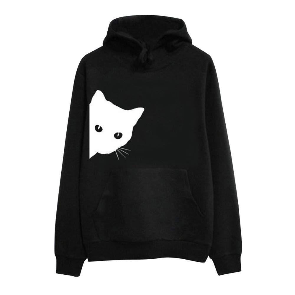 ZYUEER Femme Pullover Sweat-Shirt Chemisier Hoodies Kawaii Capuche Chat Imprimé Chic pour SoiréE Sweatshirt Polaire DéContracté