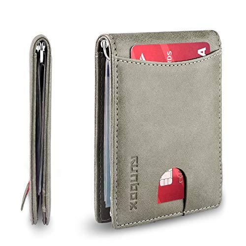 Minimalist & Slim Bifold Front Pocket Wallet with Money Clip for men, Premium Genuine Full-Grain Leather& RFID Blocking