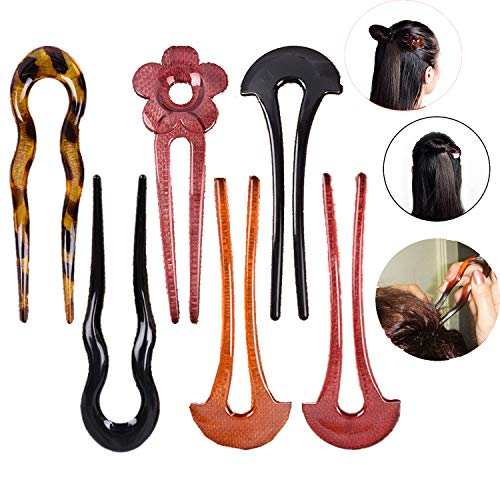 - Ujuuu 6 Pcs Retro Resin Oriental Hair Stick Pin for Buns Chignon Maker, Decorative Hair Chopsticks Hair Pin Pick, Hair DIY Jewelry for Women Girls Gift