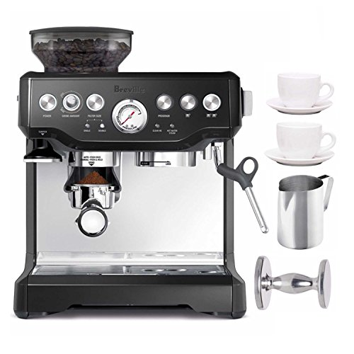 Breville BES870BSXL The Barista Express Coffee Machine (Black Sesame) + Frothing Pitcher, Handheld Espresso Ta