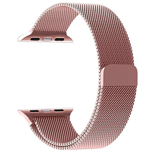 Stainless Steel Band Mesh bracelet strap Replacement Band with Magnetic Closure Clasp for Apple Watch Series 1 Series 2 Series 3 Edition 38mm Rose (Closure Material)