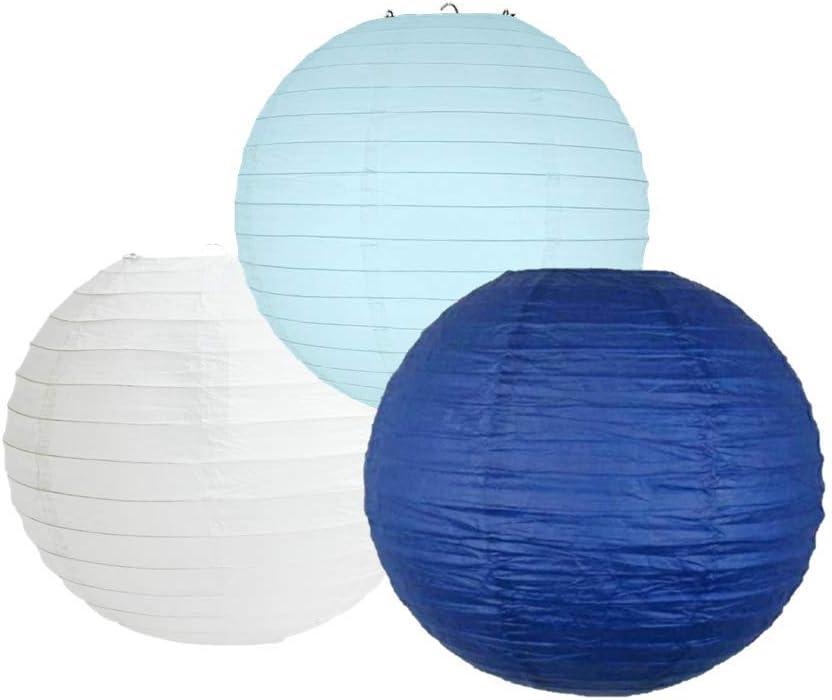 Abat-jour rouge et bleu 25 Cm 10 Lot de 3 lanternes en papier rondes de couleurs m/élang/ées