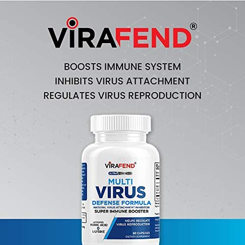 ViraFend Immune Support Supplement, Natural Multi-Virus Defense Formula, Daily Immune System Booster, Amino Acid L-Lysine Supplement & Activated Humic Acid, 60 Vegetarian Capsules