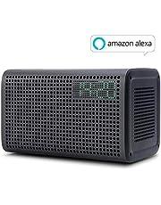 GGMM E3 Enceinte WiFi Bluetooth Portable Haut-Parleurs WiFi Multi-Room avec Alexa Airplay Son Stéréo 20W LED Horloge Réveil