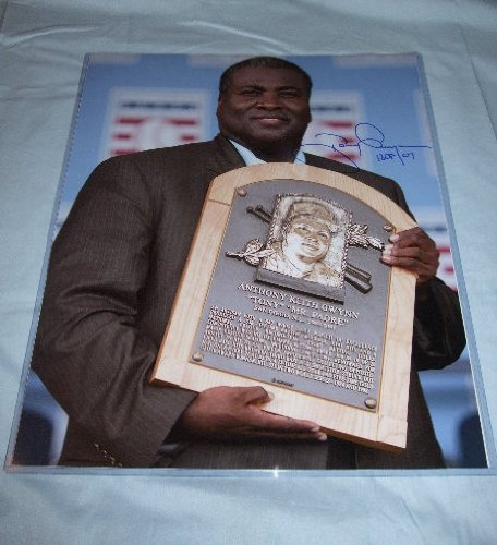Tony Gwynn Autographed San Diego Padres Hall Of Fame 16x20 Photo W/PROOF, Picture of Tony Signing For Us.