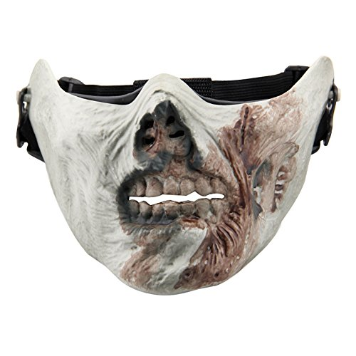 Aiyuda Skull Skeleton Half Face Mask Hard Protective Gear for Airsoft Paintball Hunting CS Wargame Masquerade Costume Party Halloween (Zombie (Halloween Half Skull Makeup)
