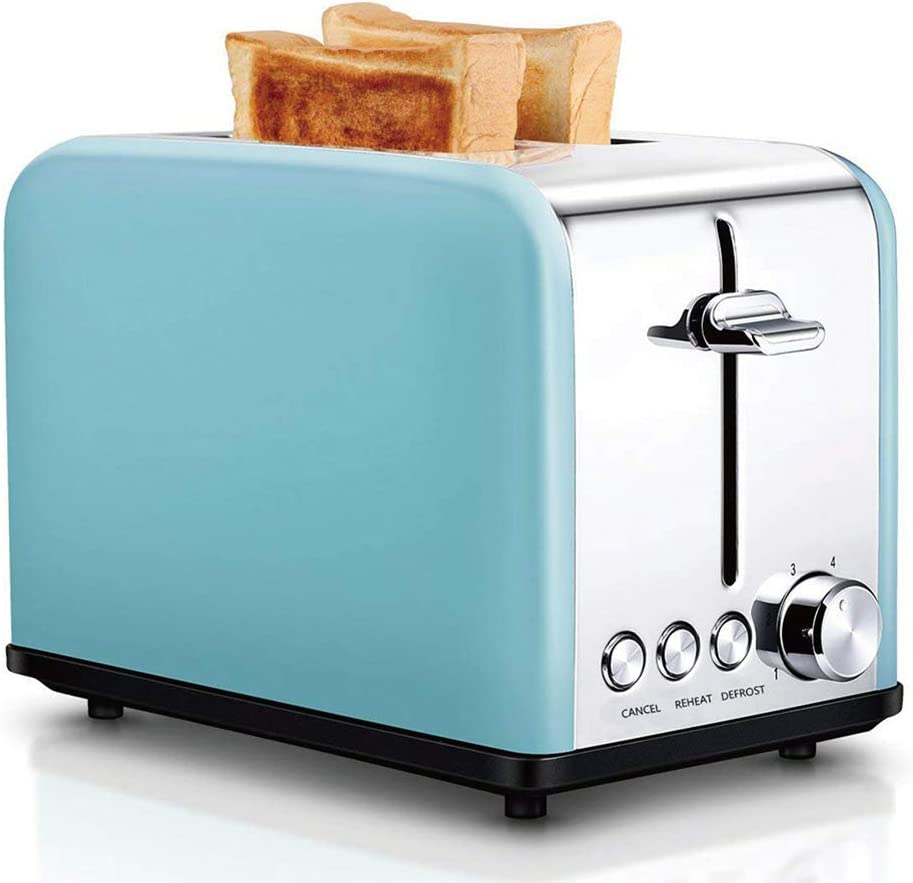 Toaster 2 Slice, Retro Small Toaster with Bagel, Cancel, Defrost Function, Extra Wide Slot Compact Stainless Steel Toasters for Bread Waffles,Blue