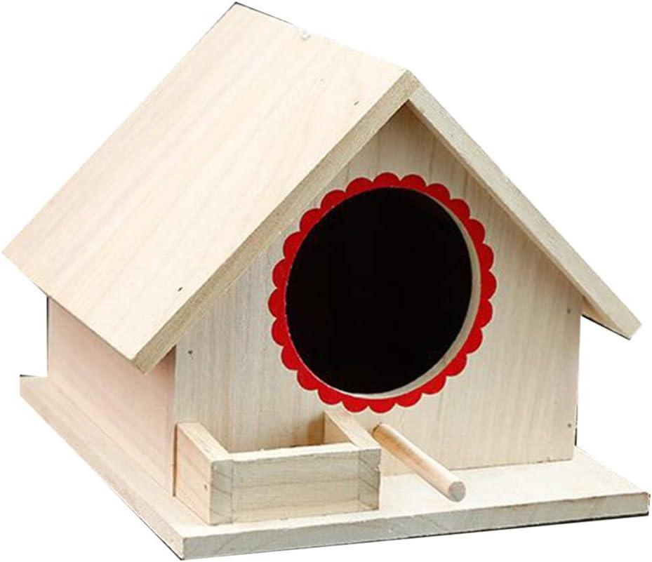 Yarnow - Comedero de madera para pájaros para exteriores, interior o interior para casa, decoración de casa de troncos, para pájaros, color al azar, tamaño L