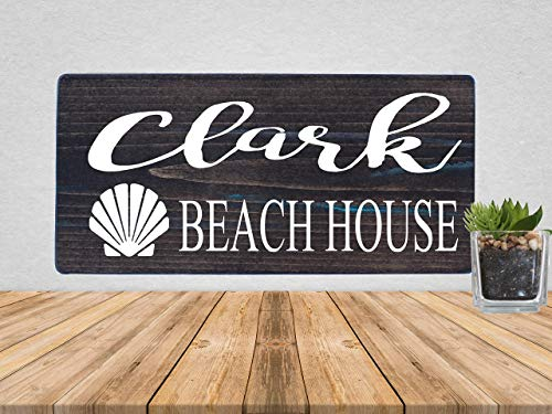 Custom Beach House Family Name Rustic Wooden Sign
