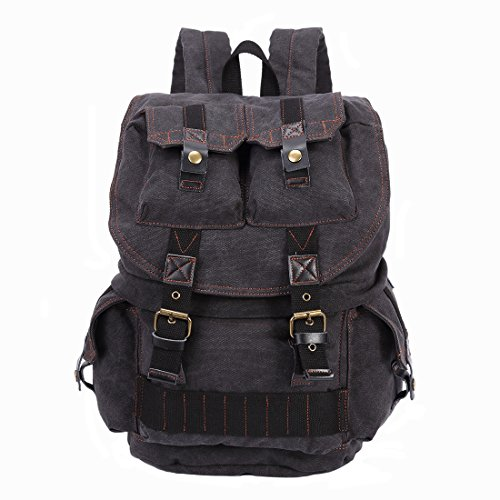 Emecca Vintage Canvas Leather Camera Cases DSLR Rucksack Backpack Men Women Black by Emecca